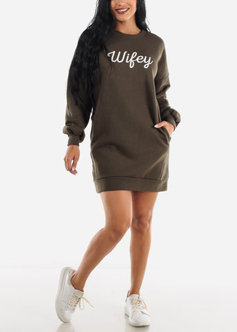 "Image of ""Wifey"" Olive Tunic Dress"
