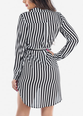 Image of Sexy Lightweight Long Sleeve White And Black Stripe Button Up Striped Dress With Tie Belt For Women Junior Ladies