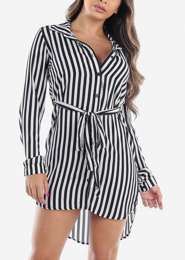 Sexy Lightweight Long Sleeve White And Black Stripe Button Up Striped Dress With Tie Belt For Women Junior Ladies