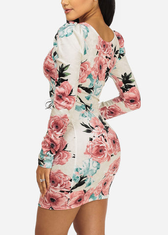 Image of Ivory Velvet Floral Dress