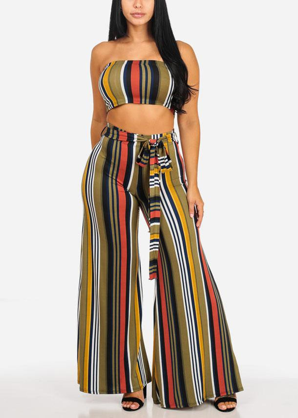 2PC SET Green Stripe Top W Belt Stripe Pants (2 PCE SET)