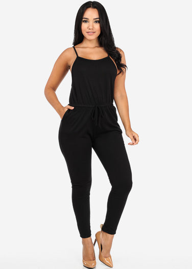 Black Jersey Drawstring Jumpsuit