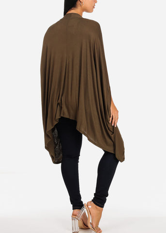 Image of Casual Asymmetrical Olive Cardigan