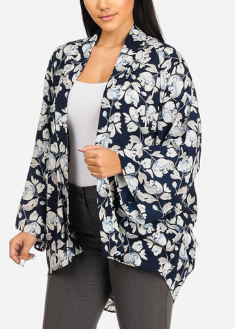 Image of Floral Print Navy Cardigan