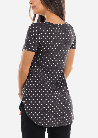 Image of Black Polka Dot V-Neck Shirt