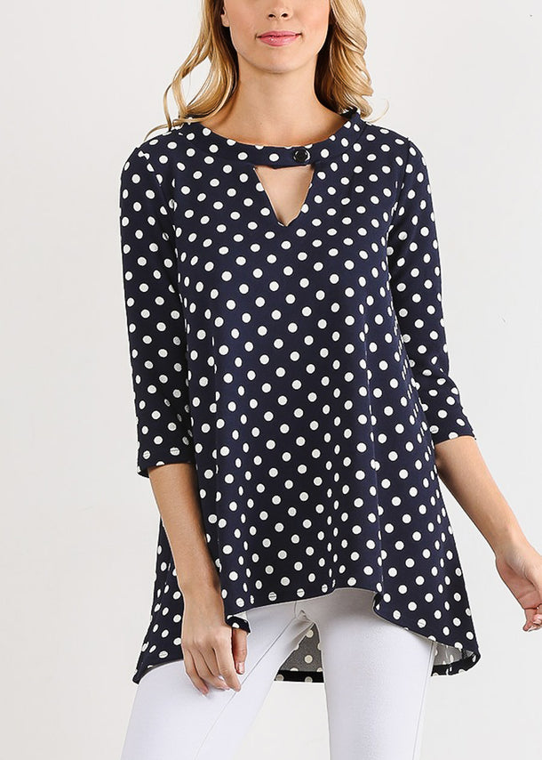 Navy Polka Dot Tunic Top