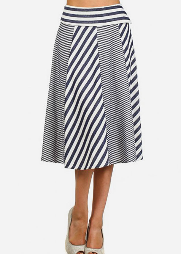 Fit & Flare Stripe Skirt