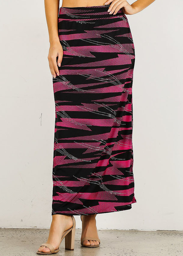 Pink & Black Printed Maxi skirt