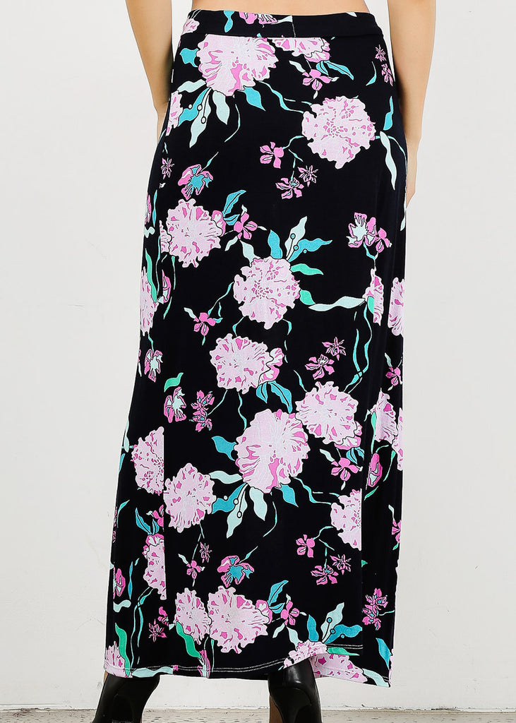 High Waisted Floral Navy Maxi Skirt