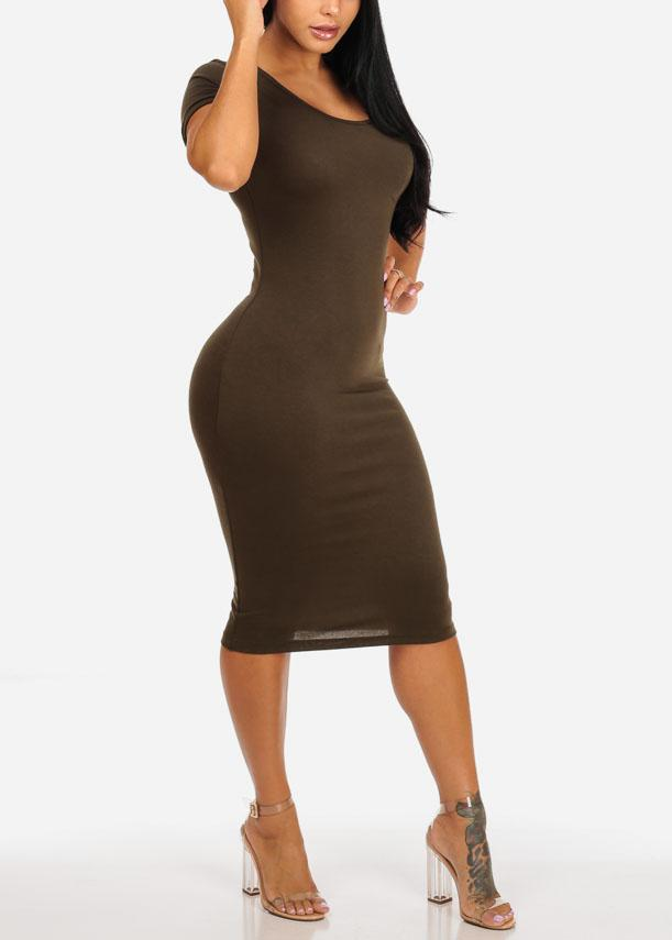 Olive Stretchy Bodycon Midi Dress