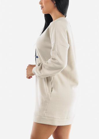 "Image of ""All You Need Is LOL"" Beige Tunic Dress"
