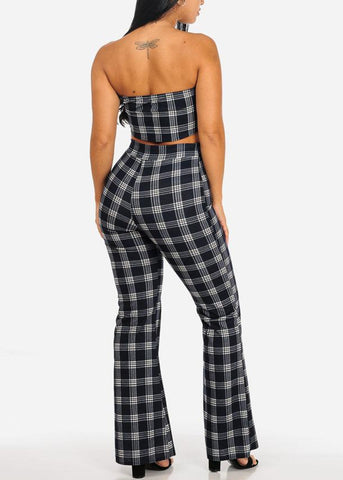 2 PC SET Strapless Crop Top W Pants