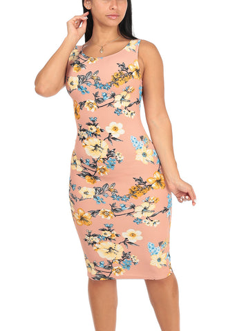 Image of Sexy Slim Fit Bodycon Sleeveless Floral Print Light Mauve Midi Knee Length Stretchy Dress