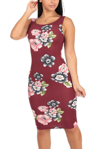 Sexy Slim Fit Bodycon Sleeveless Floral Print Burgundy Midi Knee Length Stretchy Dress