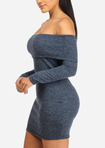 Image of Blue Off Shoulder Long Sleeve Bodycon Dress