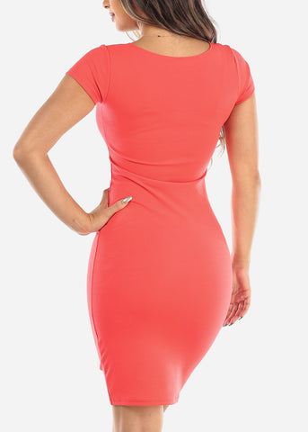 Sexy Light Red Bodycon Midi Dress