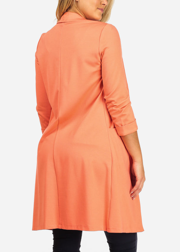 Long Coral Open Front Coat