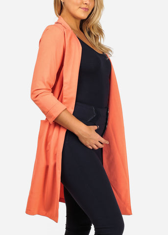 Image of Women's Junior Stylish Trendy Open Front Classic Longline Coral Trench Coat Long Blazer With Pockets