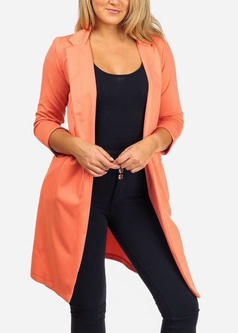 Women's Junior Stylish Trendy Open Front Classic Longline Coral Trench Coat Long Blazer With Pockets