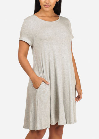 Grey Casual Stretchy Dress