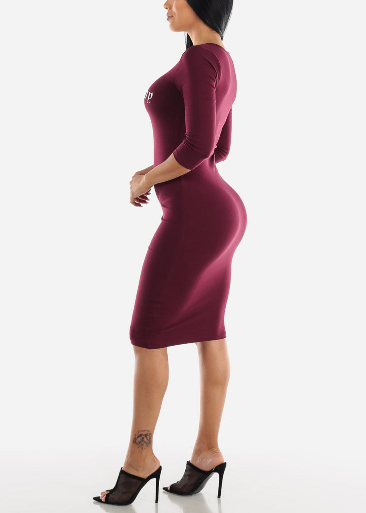 "Burgundy Graphic Dress ""Boss Lady"""