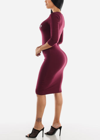 "Image of Burgundy Graphic Dress ""Boss Lady"""