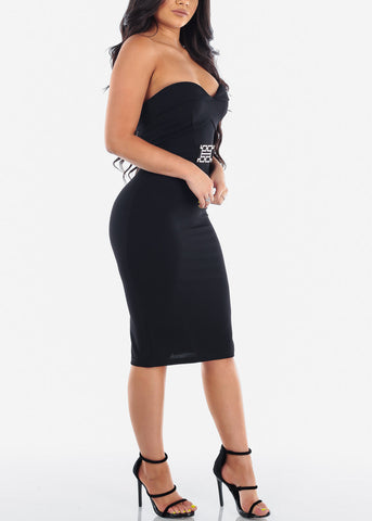 Women's Junior Ladies Sexy Night Out Cocktail Little Black Strapless Sweetheart Neckline Tight fitting Black Midi Dress With Belt