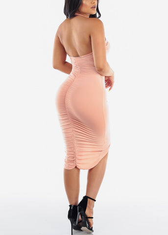 Image of Sexy Party Night Out Clubwear Party Summer Backless Halter 2019 Open Back Strapless Ruched Peach Bodycon Midi Dress