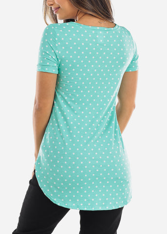 Image of Green Polka Dot V-Neck Shirt