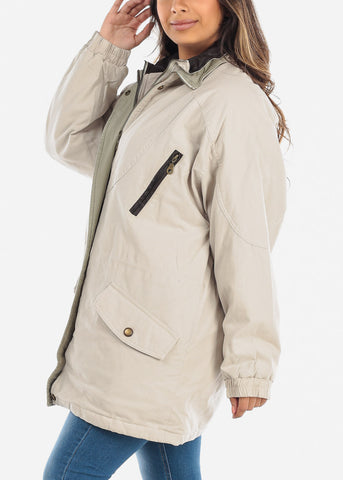 Image of Beige Dual Layer Winter Jacket