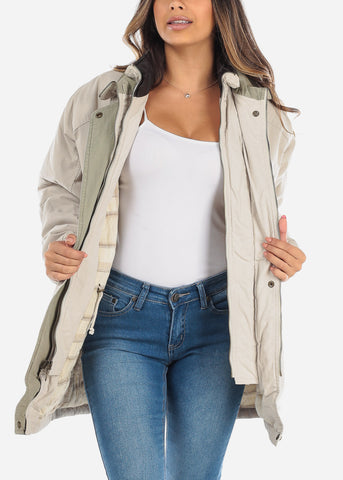 Beige Dual Layer Winter Jacket