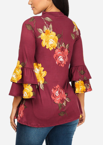 Image of Ruffle Floral Print Burgundy Top