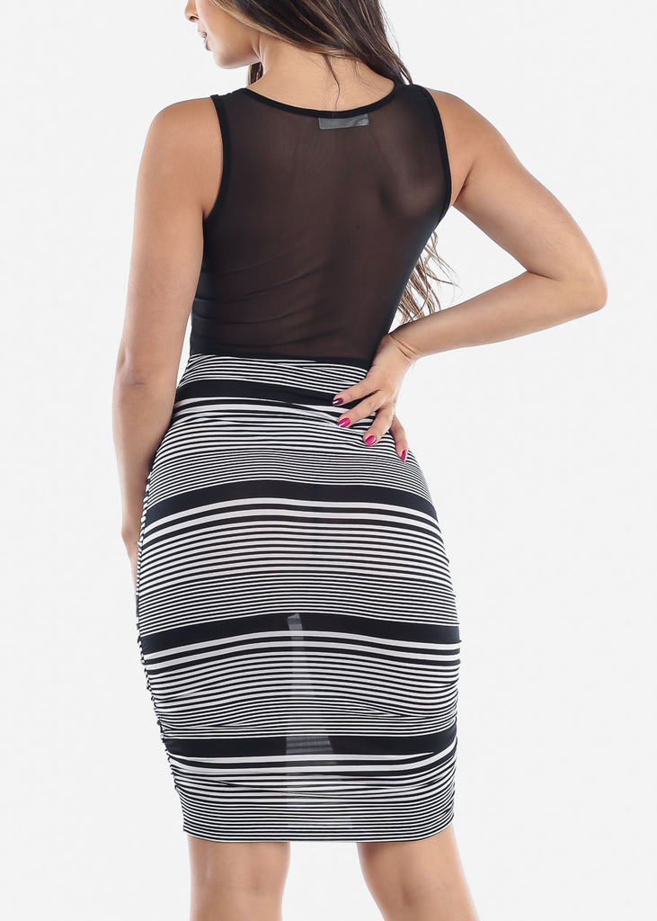 Sexy Tight Fit Slip On Style Stripe Dress With Mesh For Women Ladies Junior