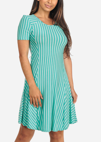 Image of Women's Junior Ladies Cute Stylish Mint Stripe Fit And Flare Short Sleeve Summer Dress