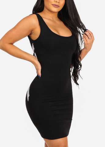 Image of Women's Junior Sexy Night Out Club Wear Solid Black Bandage Style With back Crossover Design Bodycon Black Dress