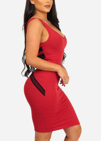Image of Women's Junior Sexy Night Out Club Wear Solid Red Bandage Style With back Crossover Design Bodycon Red Dress