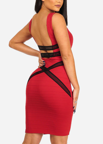 Women's Junior Sexy Night Out Club Wear Solid Red Bandage Style With back Crossover Design Bodycon Red Dress