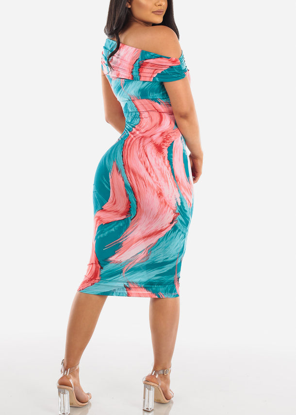 Multicolor Print Midi Dress
