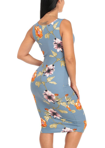 Sexy Slim Fit Bodycon Sleeveless Floral Print Light Blue Midi Knee Length Stretchy Dress