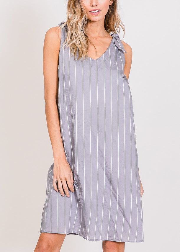 Lightweight Stripe Dark Grey Dress