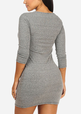 Casual Bodycon Grey Dress