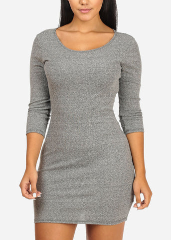 Image of Casual Bodycon Grey Dress
