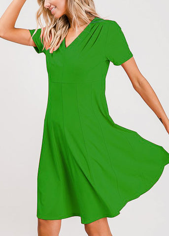 Short Sleeve Fit & Flare Green Dress