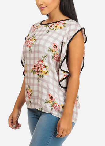 Ruffle White Floral Plaid Top