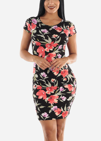 Image of Black & Coral Floral Dress