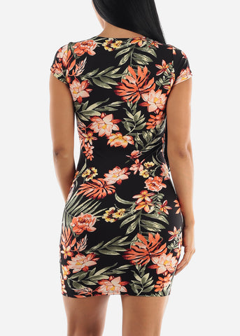 Black & Orange Floral Dress