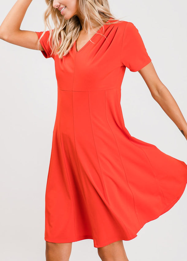 Short Sleeve Fit & Flare Red Dress