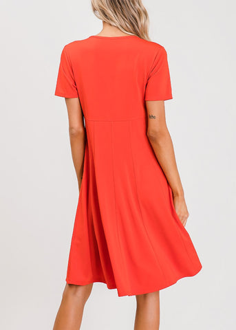 Image of Short Sleeve Fit & Flare Red Dress
