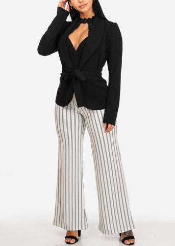 High Waisted Wide Legged Stripe Dressy Pants