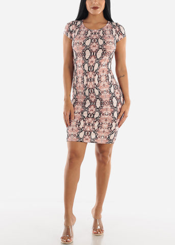 Image of Pink Snake Print Dress